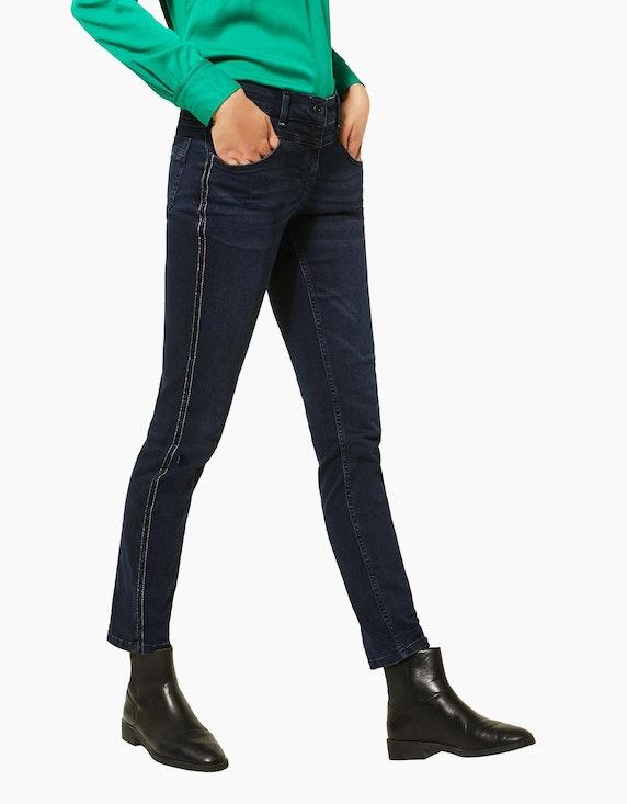 CECIL Denim-Jeanshose mit Galon-Streifen | ADLER Mode Onlineshop