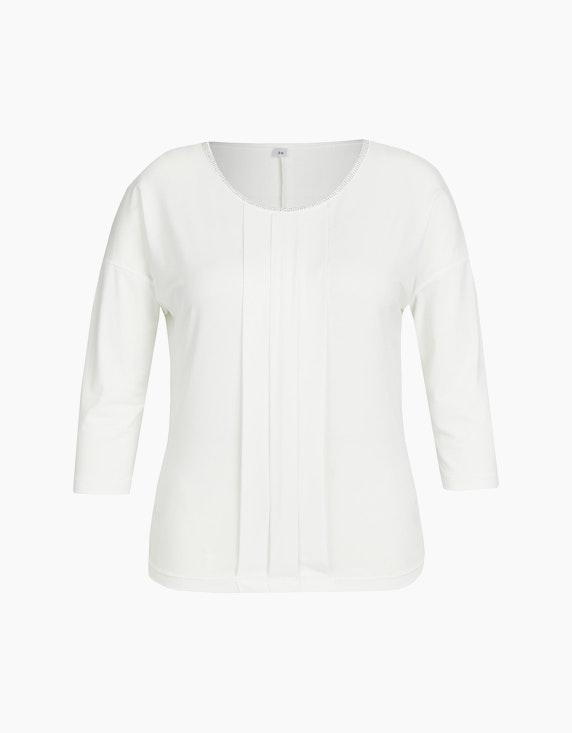 Viventy Shirt mit Kellerfalten und Schmucksteinen in Offwhite | ADLER Mode Onlineshop