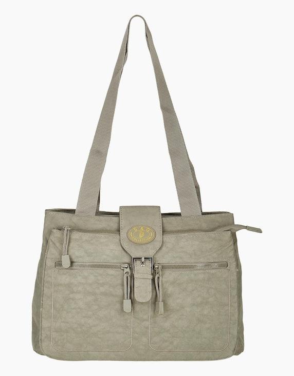 Conti Crinkle-Nylon Tasche mit Beschläge aus silberfarbenem Metall   ADLER Mode Onlineshop