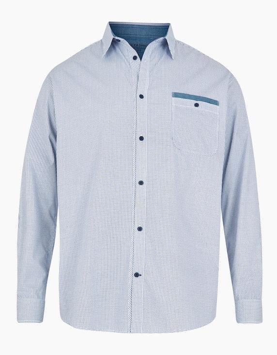 Big Fashion Freizeithemd mit modischem Print und Langarm in Weiß/Marine | ADLER Mode Onlineshop