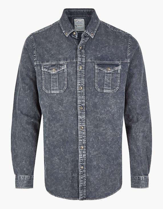 Eagle Denim Hemd mit Button-Down Kragen in Dunkelgrau | ADLER Mode Onlineshop