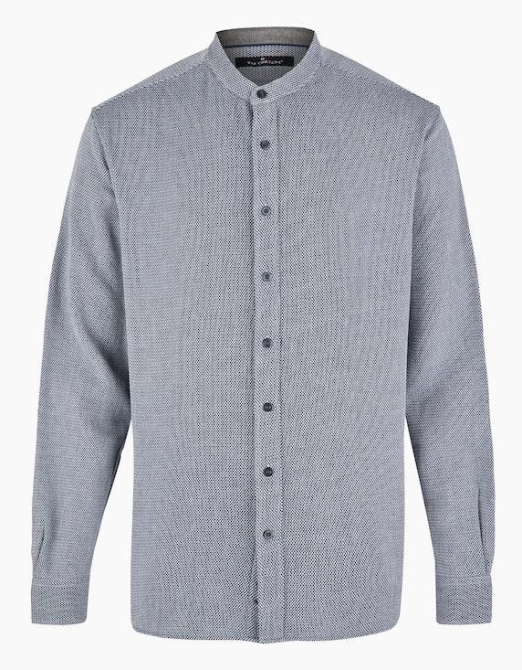 Via Cortesa Gemustertes Hemd mit Stehkragen in Blau | ADLER Mode Onlineshop