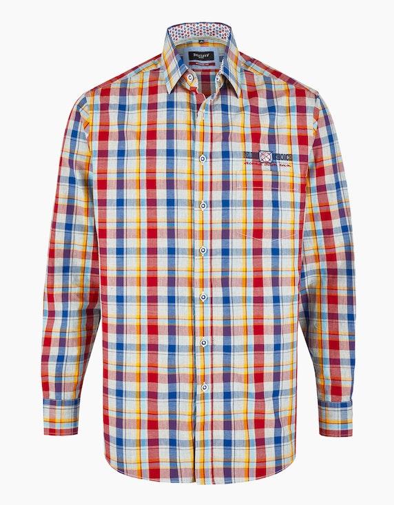 Bexleys man Karohemd mit Details, MODERN FIT in Grau/Gelb/Rot/Blau | ADLER Mode Onlineshop