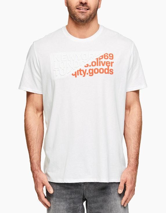 s.Oliver T-Shirt mit Label-Print | ADLER Mode Onlineshop