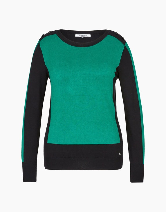 Steilmann Woman Pullover im Color-Block-Look in Grün/Schwarz | ADLER Mode Onlineshop
