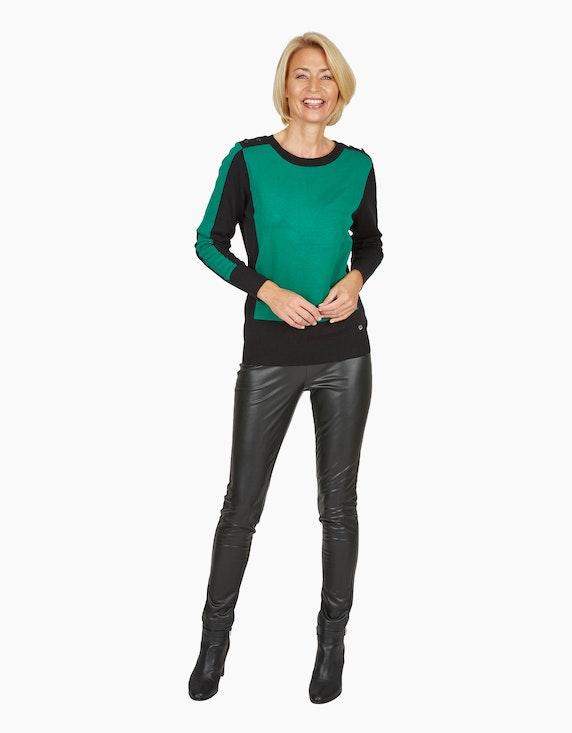 Steilmann Woman Pullover im Color-Block-Look in Grün/Schwarz | ADLER Mode Onlineshop