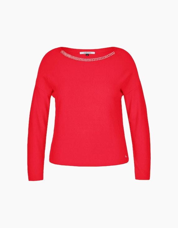 Steilmann Woman Pullover mit Schmuckdetails am Ausschnitt in Rot | ADLER Mode Onlineshop