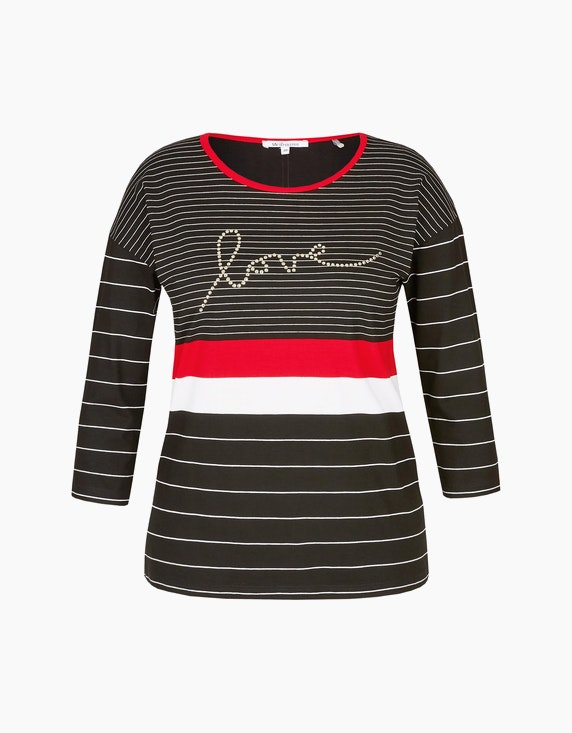 Steilmann Woman Streifen-Shirt mit Wording in Schwarz/Weiß/Rot   ADLER Mode Onlineshop