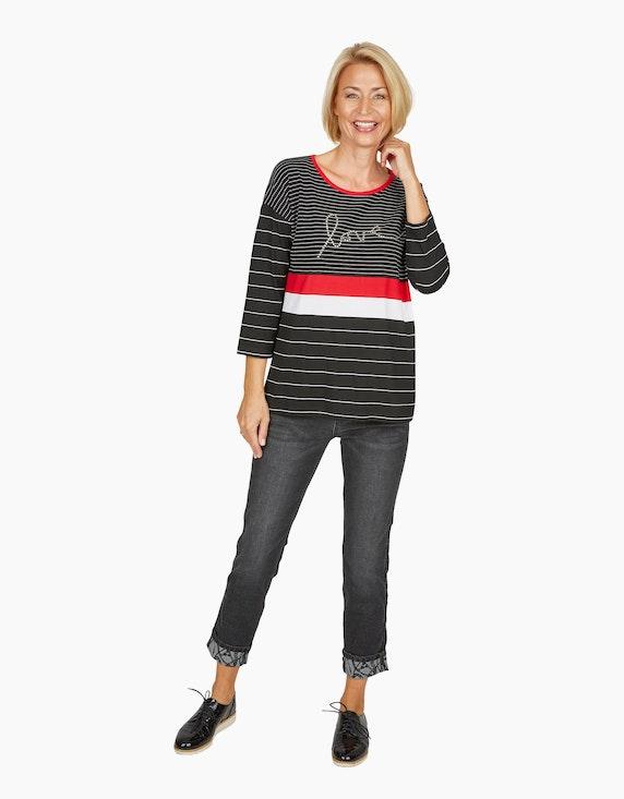 Steilmann Woman Jeans mit bedrucktem Aufschlag in Black Denim   ADLER Mode Onlineshop