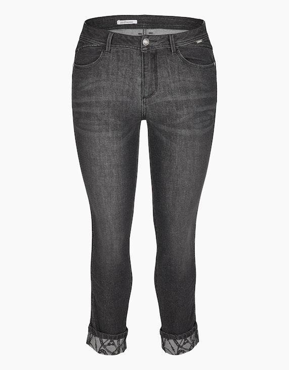 Steilmann Woman Jeans mit bedrucktem Aufschlag in Black Denim | ADLER Mode Onlineshop