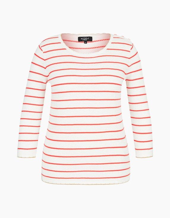 Bexleys woman Gestreifter Pullover in Wellen-Optik in Weiß/Rot | ADLER Mode Onlineshop