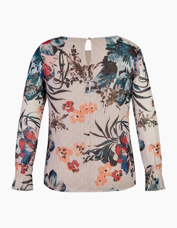 Bexleys woman Chiffonbluse mit Blumendruck und Glitzer-Nadelstreifen | ADLER Mode Onlineshop