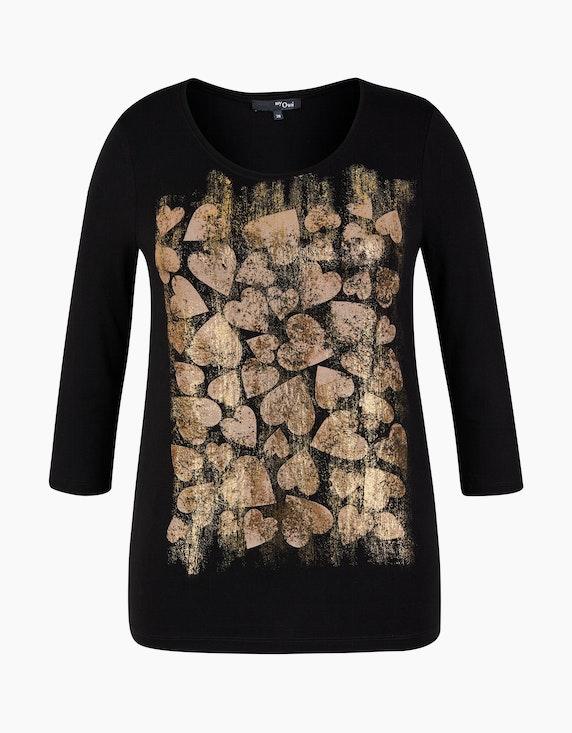 MY OWN Shirt mit goldfarbenem Herz-Effektdruck in Schwarz   ADLER Mode Onlineshop