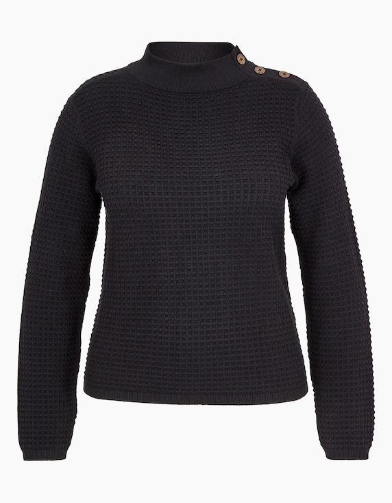 MY OWN Pullover mit Noppen-Struktur und Stehkragen, Baumwolle in Schwarz | ADLER Mode Onlineshop