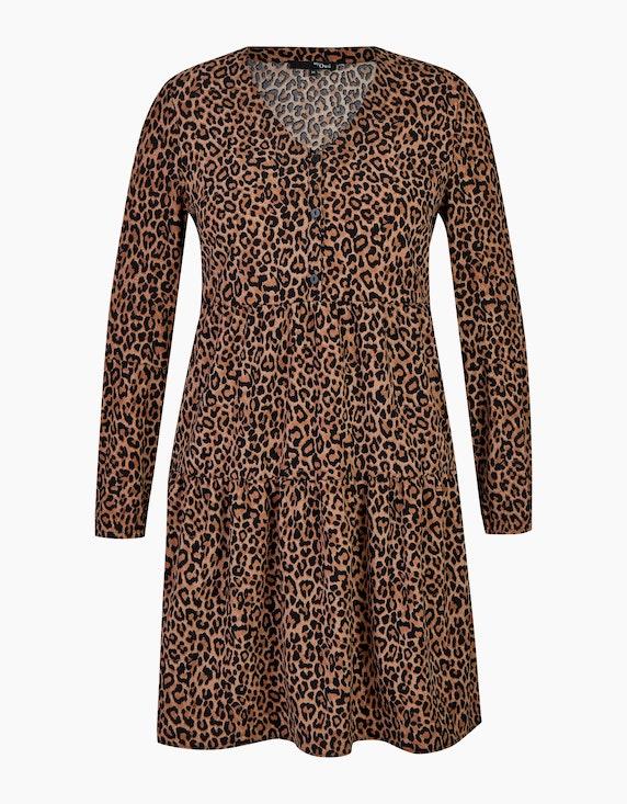 MY OWN Volant-Kleid mit Leo-Print in Braun/Schwarz | ADLER Mode Onlineshop