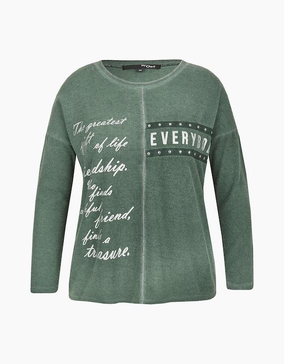 MY OWN Flausch-Shirt, oil-dyed mit Folien-Letterprint in Oliv   ADLER Mode Onlineshop