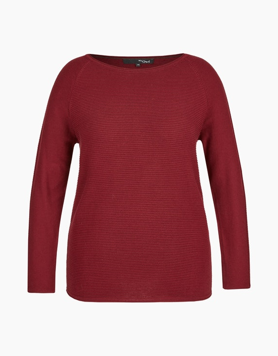 MY OWN Struktur-Pullover mit U-Boot-Ausschnitt in Bordeaux | ADLER Mode Onlineshop