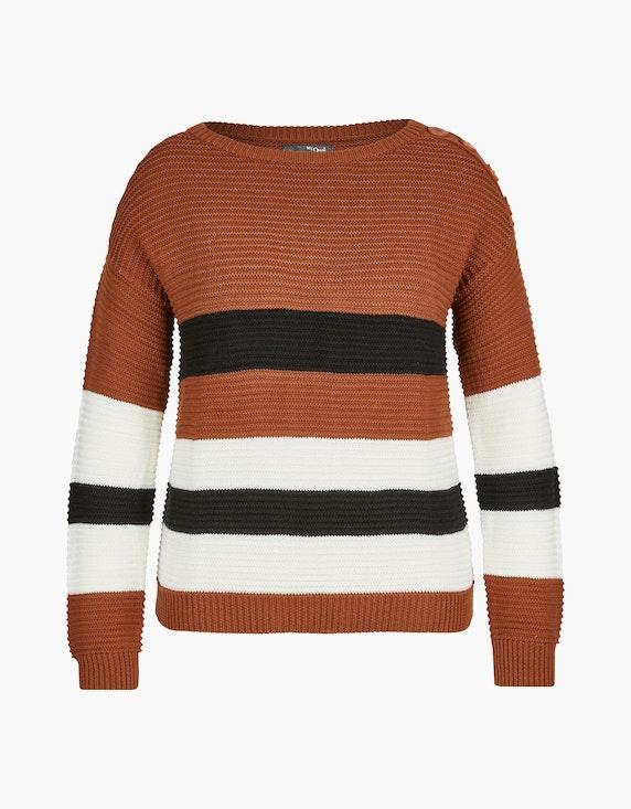 MY OWN Strick-Pullover mit breiten Streifen in Braun/Offwhite/Schwarz | ADLER Mode Onlineshop