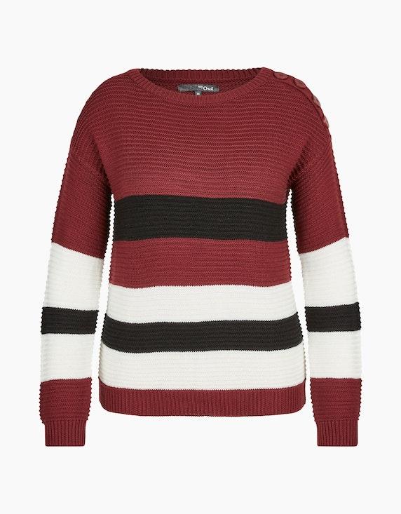 MY OWN Strick-Pullover mit breiten Streifen in Bordeaux/Offwhite/Schwarz | ADLER Mode Onlineshop