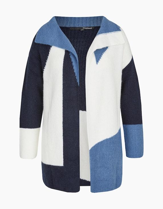 MY OWN lange, flauschige Strickjacke in offener Form in Blau/Marine/Weiß | ADLER Mode Onlineshop