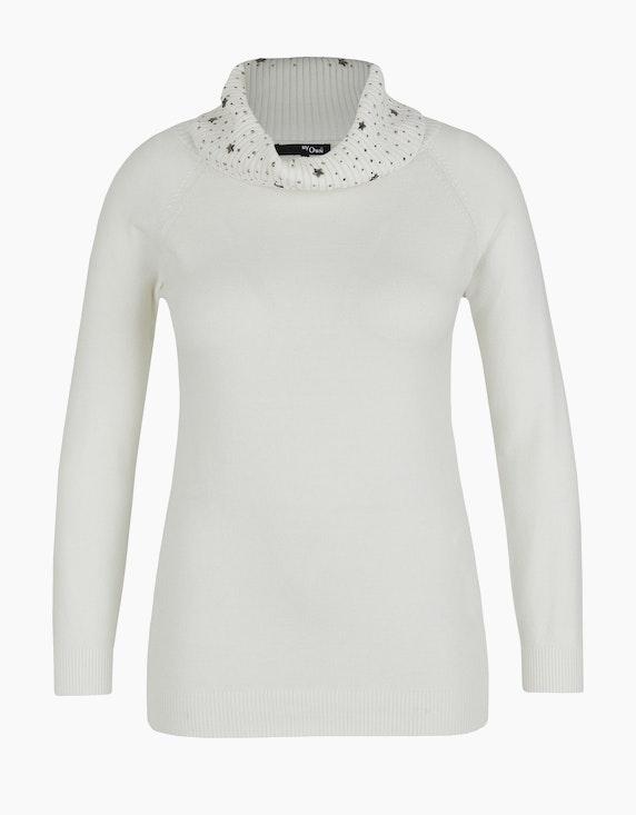 MY OWN Rollkragen-Pullover mit Dekosteinen- und Sternen in Offwhite | ADLER Mode Onlineshop