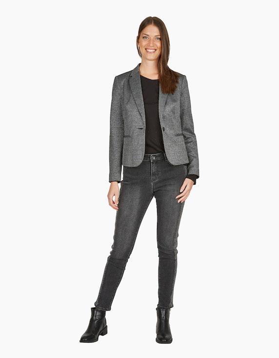 MY OWN Blazer mit Glanzeffekt und Reverskragen in Schwarz/Silber | ADLER Mode Onlineshop