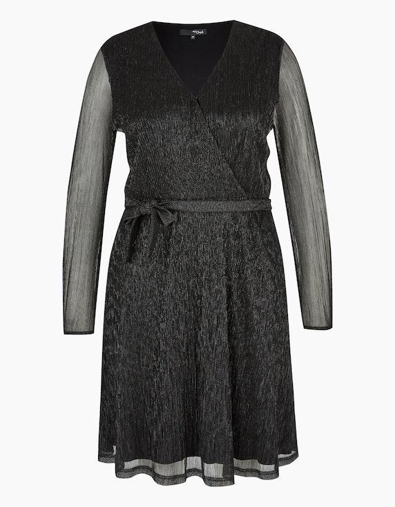 MY OWN Festliches Chiffon-Kleid mit Wickeloptik in Schwarz/Silber | ADLER Mode Onlineshop