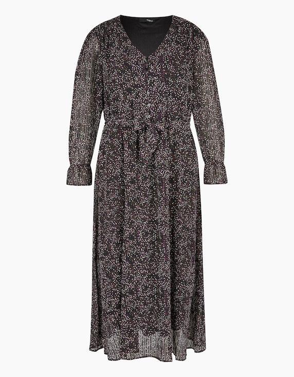 MY OWN Langes Chiffon-Kleid mit Volant und Bindegürtel in Schwarz/Lila/Weiß/Braun | ADLER Mode Onlineshop
