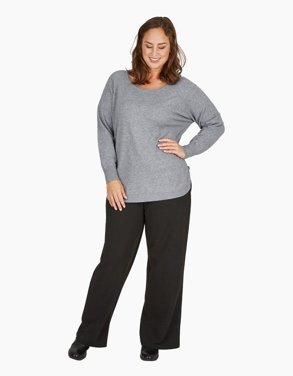 Thea Feinstrick-Pullover im Poncho-Style mit Ziernieten   ADLER Mode Onlineshop