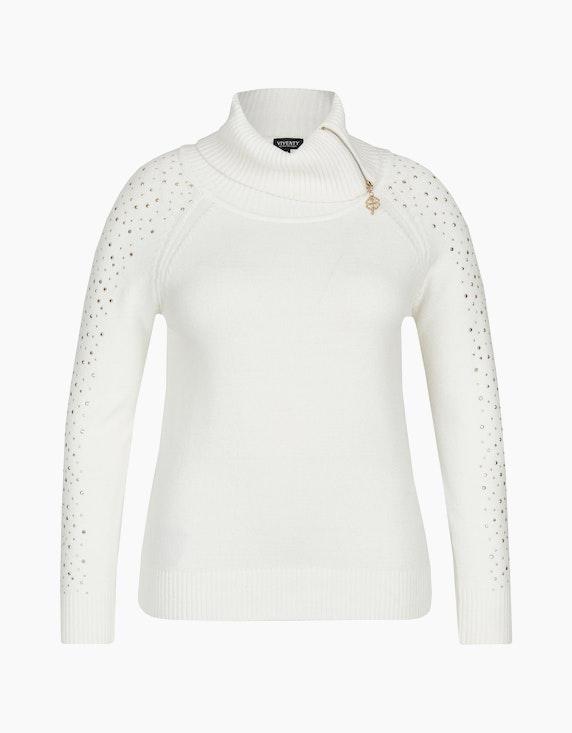 Viventy Rollkragen-Pullover mit Reißverschluss und Ziernieten in Weiß | ADLER Mode Onlineshop