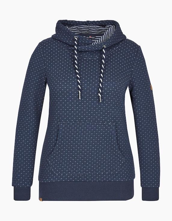 Via Cortesa Kapuzen-Sweatshirt mit Minimal-Print in Blau | ADLER Mode Onlineshop