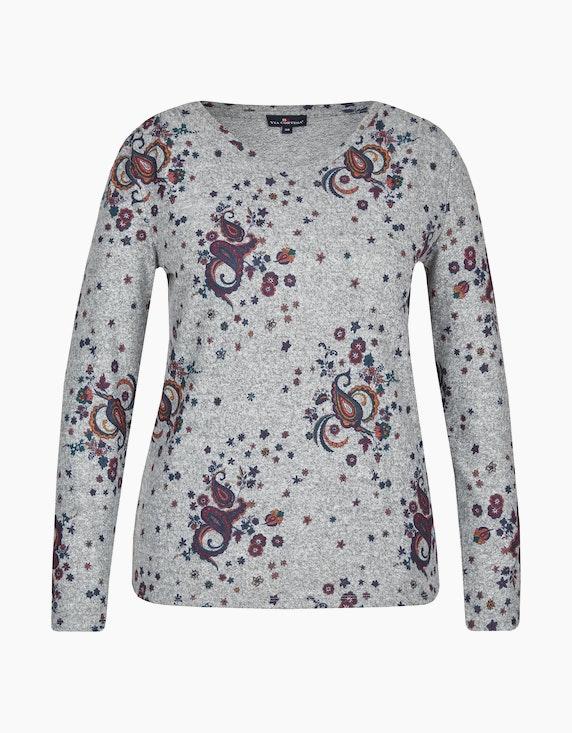 Via Cortesa Flausch-Shirt mit Paisley-Allover-Druck in Grau/Bordeaux/Marine | ADLER Mode Onlineshop