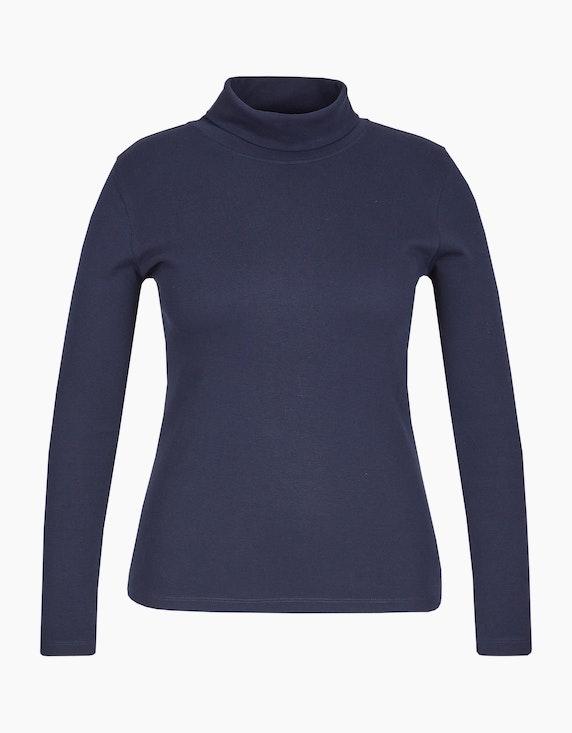 Via Cortesa Unifarbenes Basic-Rollkragen-Shirt in Marine | ADLER Mode Onlineshop