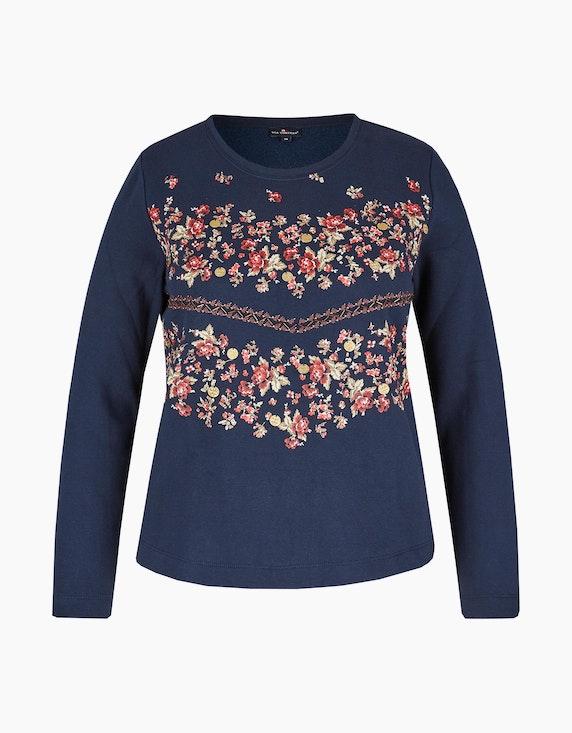 Via Cortesa Sweatshirt mit platziertem floralem Druck in Marine mit Druck | ADLER Mode Onlineshop