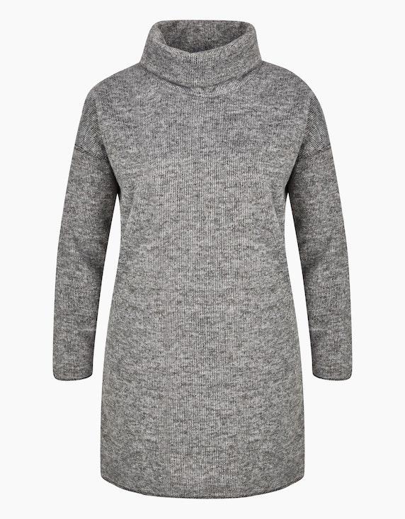 Via Cortesa Strick-Kleid mit Rollkragen und Fledermaus-Ärmeln in Silbergrau/Grau | ADLER Mode Onlineshop
