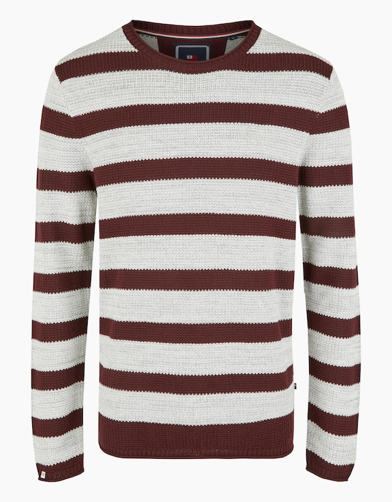 Via Cortesa Strickpullover mit Blockstreifen in Bordeaux/Grau | ADLER Mode Onlineshop