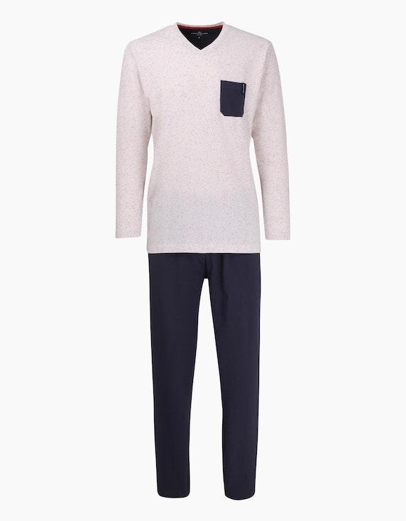 Tom Tailor langer Pyjama mit V-Ausschnitt | ADLER Mode Onlineshop