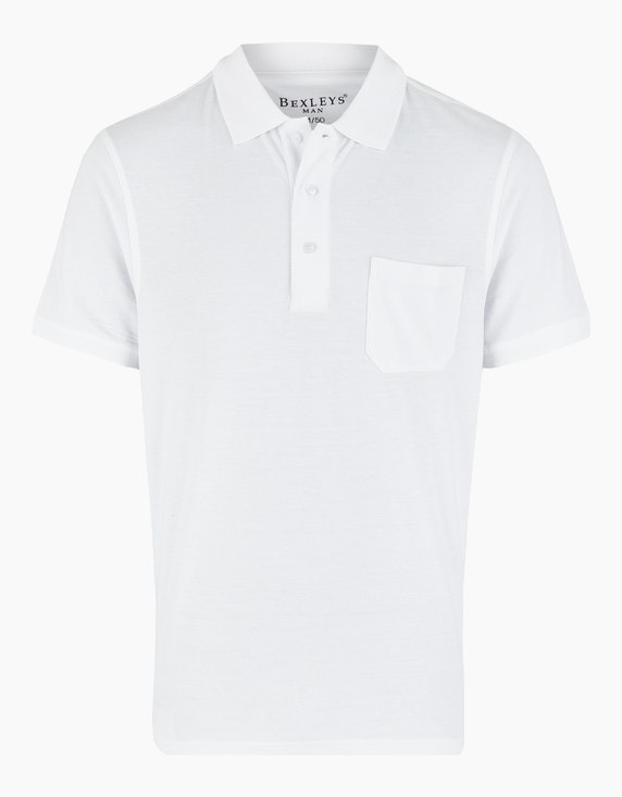 Bexleys man Poloshirt uni, GOTS in Weiß | ADLER Mode Onlineshop