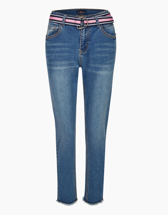 Via Cortesa Denim-Jeanshose mit Gürtel in Blue Denim | ADLER Mode Onlineshop