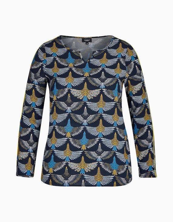 Bexleys woman Bluse mit Tunika-Ausschnitt und Samtbesatz in Marine/Blau/Weiß/Gelb | ADLER Mode Onlineshop