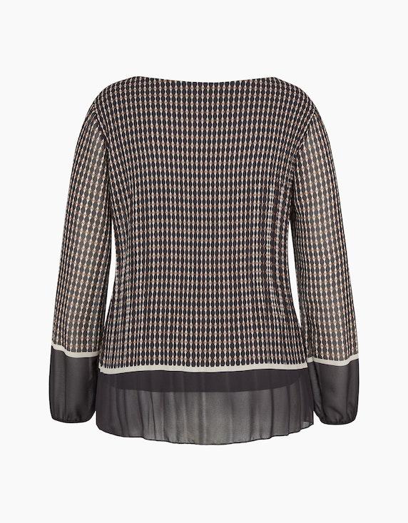 Made in Italy Plissee-Bluse mit Druck und unifarbenem Saum | ADLER Mode Onlineshop