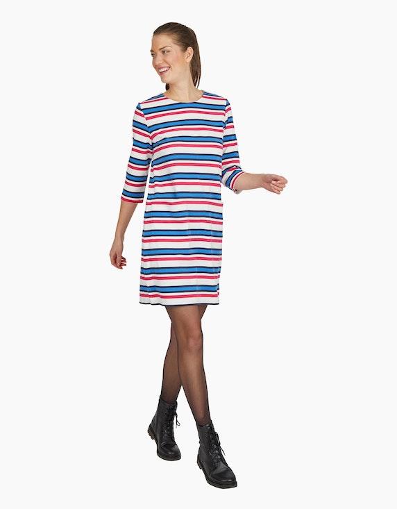 Via Cortesa Jersey-Streifen-Kleid mit aufgesetzten Taschen | ADLER Mode Onlineshop