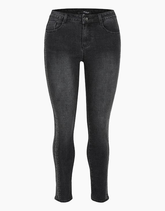 MY OWN Denim-Jeanshose mit Silber-Galonstreifen und Ziersteinen in Black Denim | ADLER Mode Onlineshop