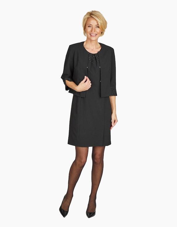 Steilmann Woman Etuikleid mit gelegten Falten und Strass am Ausschnitt | ADLER Mode Onlineshop