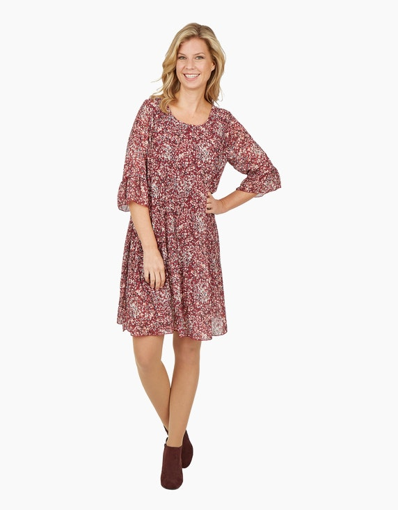 Made in Italy Plissee-Kleid mit Millefleurs-Muster | ADLER Mode Onlineshop