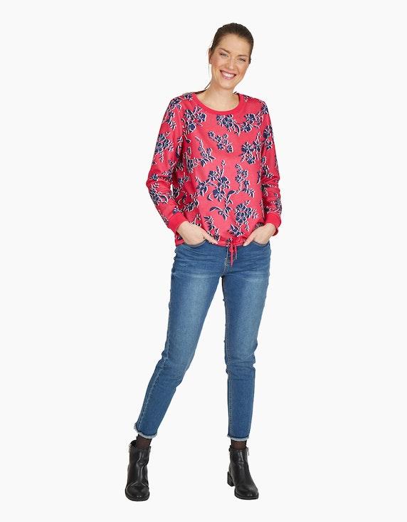 Via Cortesa Sweatshirt in Rippstruktur und Blumen-Dessin   ADLER Mode Onlineshop