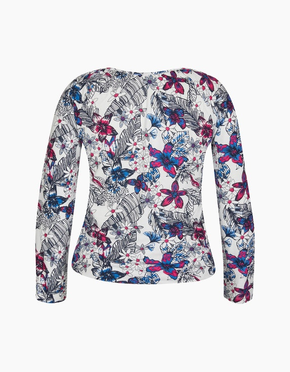 Via Cortesa Shirt mit Allover-Print und Krempelärmel | ADLER Mode Onlineshop