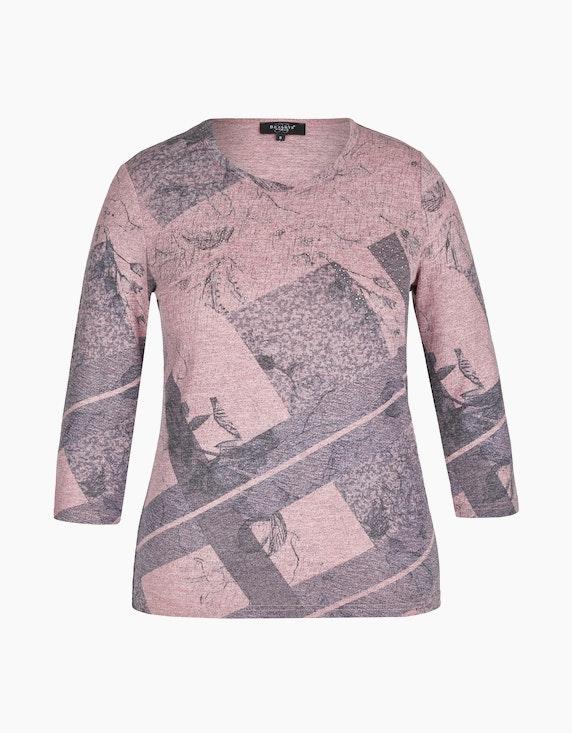 Bexleys woman Gewirktes Shirt mit Strassbesatz in Rosa/Grau | ADLER Mode Onlineshop