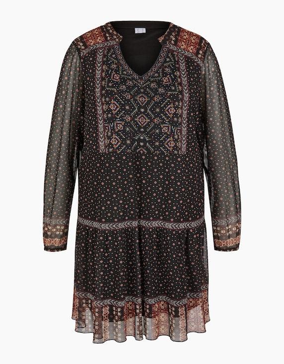 Thea Lange Tunika-Bluse in Mesh-Qualität in Schwarz/Bordeaux/Orange | ADLER Mode Onlineshop