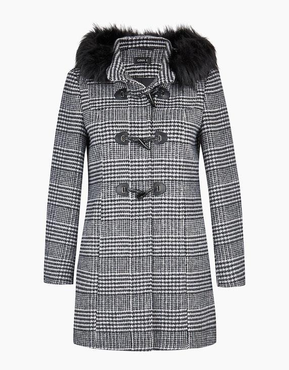 Adler Collection Wolljacke mit Glencheck-Muster und Knebelverschlüssen in Schwarz/Weiß | ADLER Mode Onlineshop